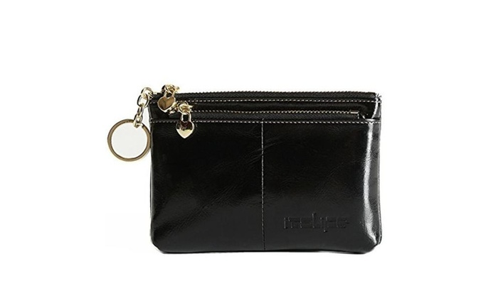 Triple Zipper Leather Mini Coin Purse Card Holder with Key Chain