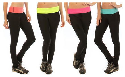 4-Pack Active Wear Neon Fold Over Yoga Pants