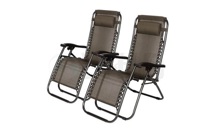 2 PCS Zero Gravity Folding Lounge Beach Chairs Outdoor