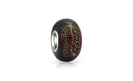 Bling Jewelry 925 Silver Black Murano Glass Purple Green Glitter Bead cf1cba4a-febd-4abf-88b3-347123756994