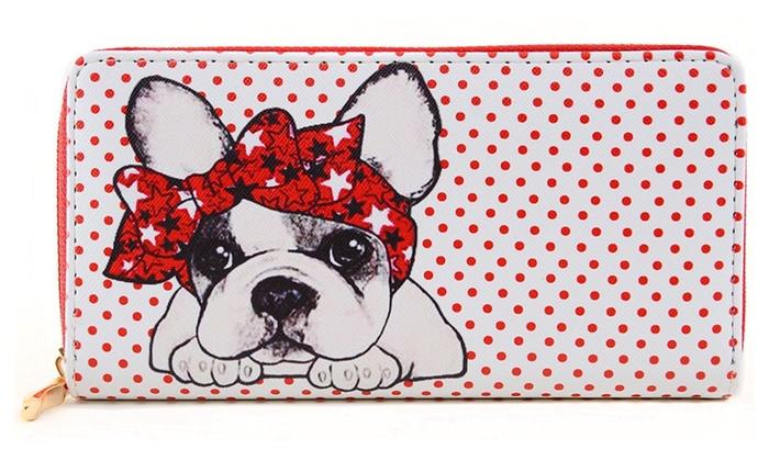 French Bulldog Polka Dot Cute Bi-Fold Vegan Leather Wallet