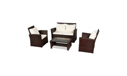 Outdoor Rattan Sofa Combination Arm Sofa and Coffee Table (4-piece)