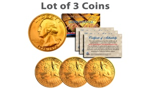 Bicentennial 1976 US Quarter 24K Gold-Plated Coin (3- or 10-Pack)