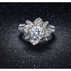 Micropave Flower Ring In 18k White Gold
