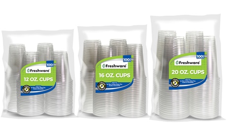 Freshware Clear Plastic Cups (100 Pieces) 6ecd21f1-51eb-46b4-bbf9-e92d35291bad