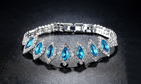 Leo Rosi Oval Blue Crystals Bracelet