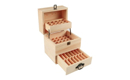 Essential Oil Box Organizer 59 Bottles Storage Container Natural 3Tier 32dd958a-3920-406d-b023-d0a7bed415a4