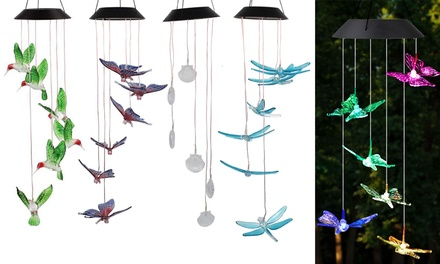 Waterproof LED Solar Hummingbird Wind Chime for Home Night Garden Decoration