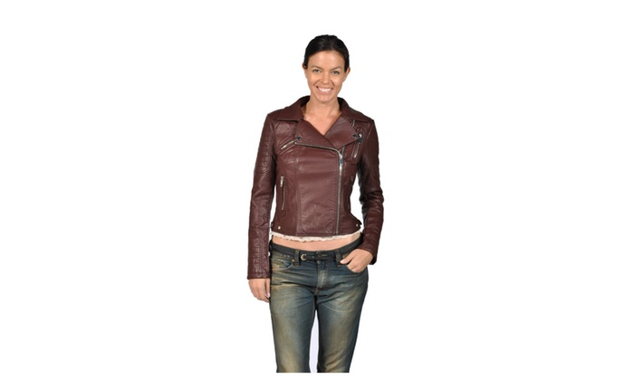 Runway Womens Biker Style Faux Leather Jacket, Wine
