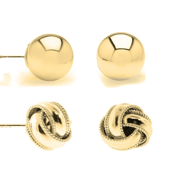 18b3a6170 Solid Italian Love Knot and Ball Stud Earrings Set in Sterling Silver (2  Pack)   Groupon