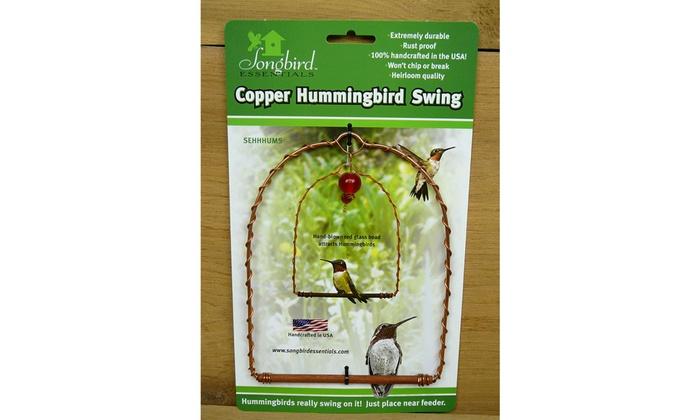 Birdfeeder Copper Hummingbird Territorial Perch Swing with Hand-Blown Glass Bead