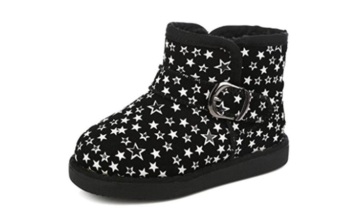 Toddler Little Kid Star Pattern Thick Warm Fur Lined Boots Snow Shoes