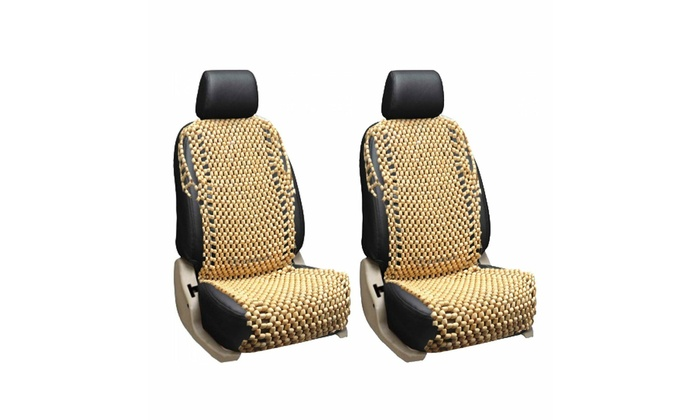 Zone Tech Black Wooden Beaded Massage Therapy Back Thigh Car Seat Chair Cushion