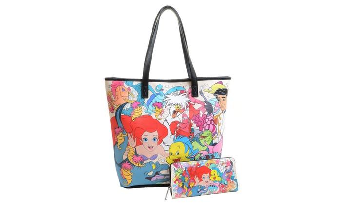 Disney The Little Mermaid Ariel Tote Handbag Purse Wallet