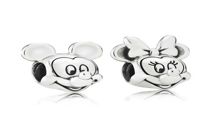 c8dc9b1b1 Mickey And Minnie Mouse 925 Stamped Sterling Silver Pandora Style Euro Charm