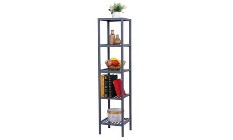 Bamboo Bathroom Shelf,5-Tier Multi-functional Storage Organizer Rack, Natural