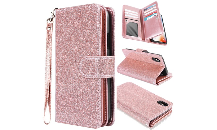 huge discount 453c8 d491d Flip Leather Bling Glitter Wallet Case Stand for iPhone X, 7/8, 7 Plus