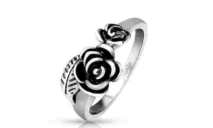 Two Roses with Leaf Stainless Steel Cast Ring: Two Roses with Leaf Stainless Steel Cast Ring