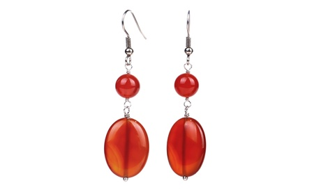 Sterling Silver 9.90 ct Fancy Red Agate Dangle Earring d470553a-c35e-44eb-9df9-72305faff98f