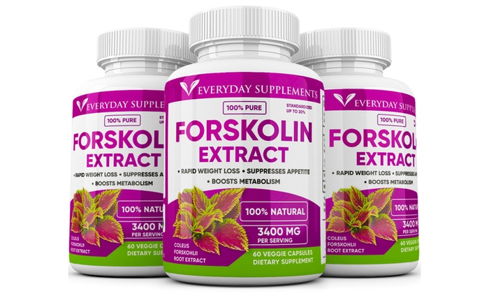 3 X Pure 3400mg Forskolin Extract Maximum Strength Rapid Results Weight Loss