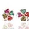 18K Rose Gold Rainbow Jewels Clover Earrings