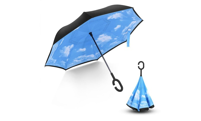 C-Handle Reverse Umbrella Double Layer Upside Down Inverted SUN//RAIN Windproof L