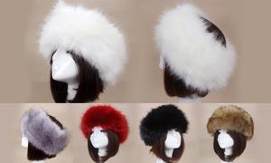 Women Russian Faux Fluffy Fox Fur Hat Head Ring Winter Spring Tick Warm Cap Head