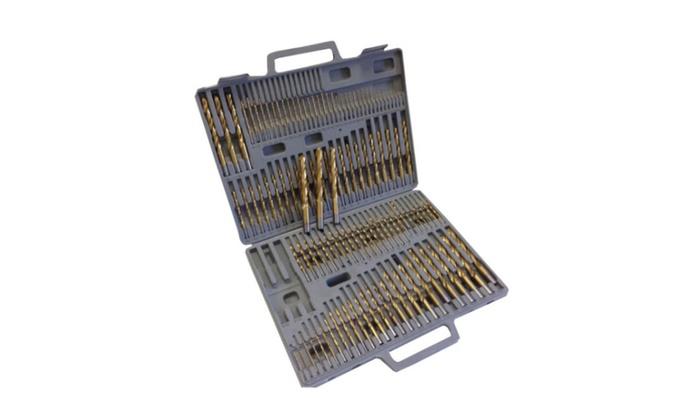 New Hss High Speed Steel Titanium Drill Bit Set Metal and Carry Cas - 115 pcs