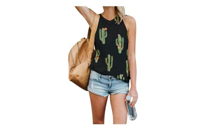 71c3f4f49aedb Womens Sleeveless Print Cactus Tank Tops Casual T Shirt