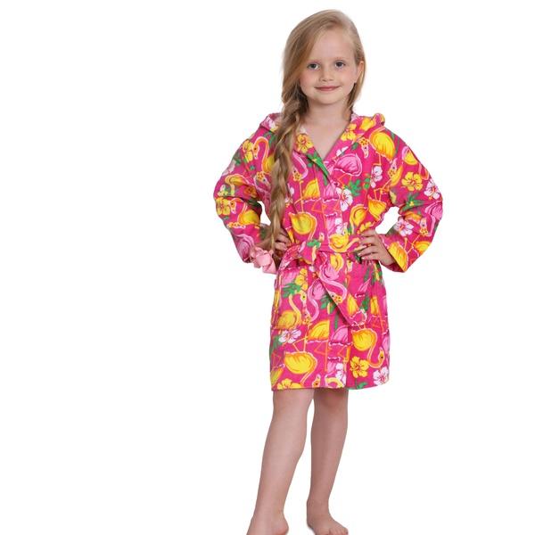 91be9c8889455 Komar Kids Girls' Pink Flamingo Print Cotton Terry Robe - Cover Up | Groupon