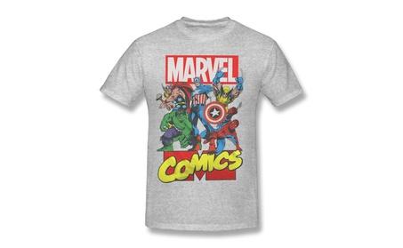 JTUTR Marvel Comics Superheroes Collage Gray Tee
