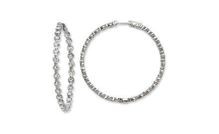 IceCarats Designer Jewelry Sterling Silver CZ 54 Stones In and Out Round Hoop Earrings