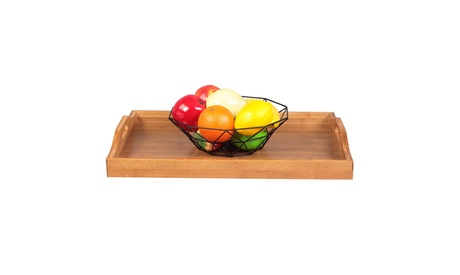 Wood Serving Tray with Handles Boobam for Food, Breakfast, Dinner, Restaurants