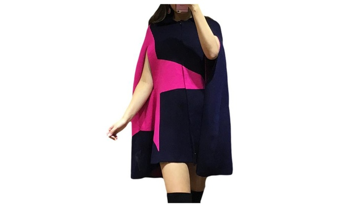 Women's Fashion Geometric Casual Loose Fit Wool Cape