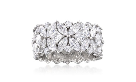 Multi Cut Crystal Eternity Band Ring Made With Crystals from Swarovski