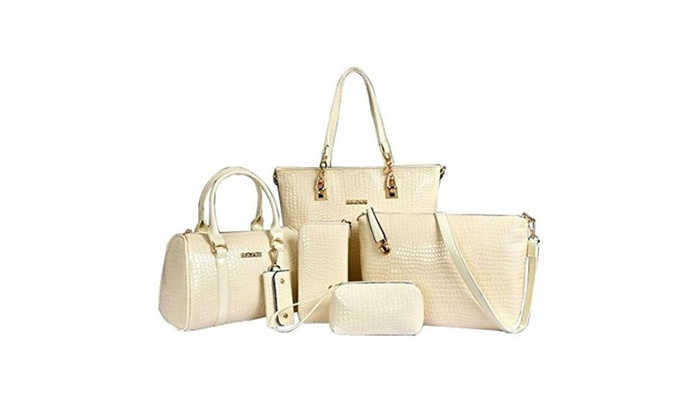 bc9ca7c49f8 Women Handbag Shoulder Bag Purse Wallet 6 Piece Tote Vintage Style ...