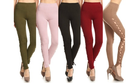Women's High Waist Side Cutout Lattice Active Leggings aa440486-2d33-4c19-a4ca-fe4c0d54a79f