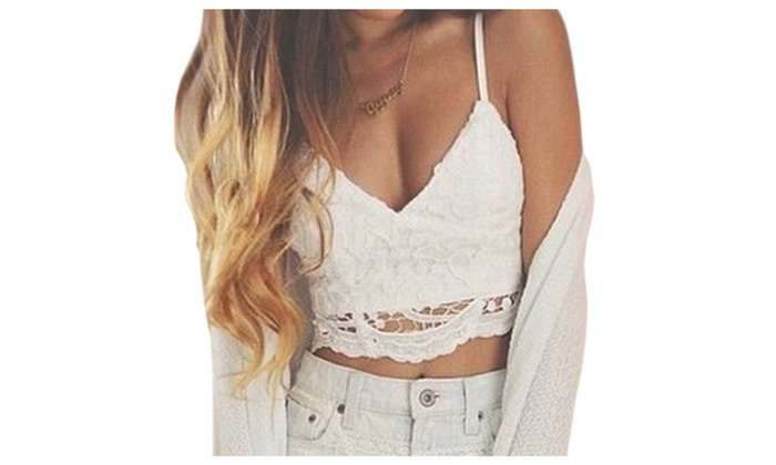 3c64b5fafa Ketty More Women Bralette Lace Decorated Crop Top UWSB749 | Groupon