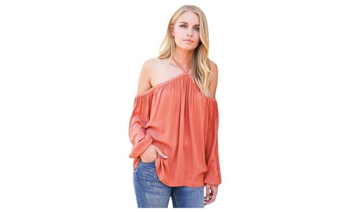 Women's Pink Long Sleeve Off Shoulder Halter Top