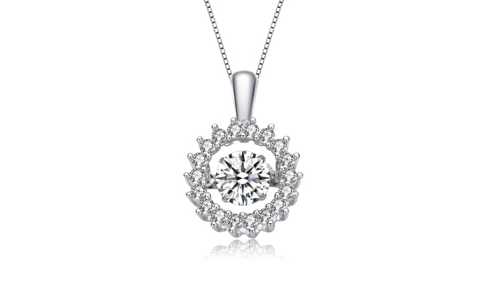 d8f401ff671 RelavenO Sterling Silver Clear Round Cubic Zirconia Wreath Pendant Necklace