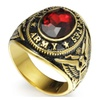 Gold Tone Plated Stainless Steel Red Stone Military Ring