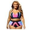 Women Plus Size 2 Piece Bathing Suit Spaghetti Strap Backless Swimwear