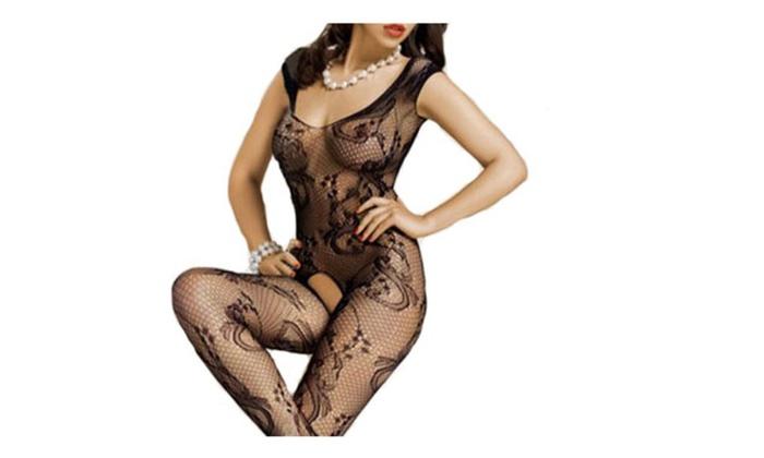 Womens Sexy Crotchless Fishnet Bodystocking Black