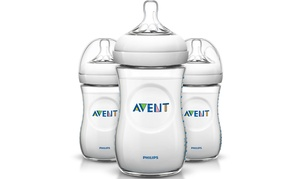 PHILIPS Avent SCF013/37 3 Pack 9oz Natural BPA-free Baby Bottle Clear