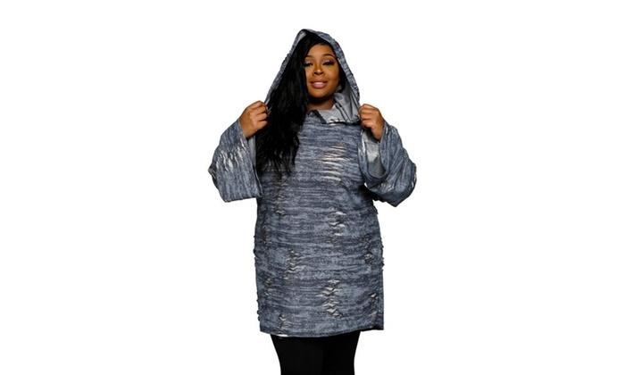 8915668ccc ... Distressed Oversized Hoodie Sweater Dress. Xehar Women s Plus Size  Distr.