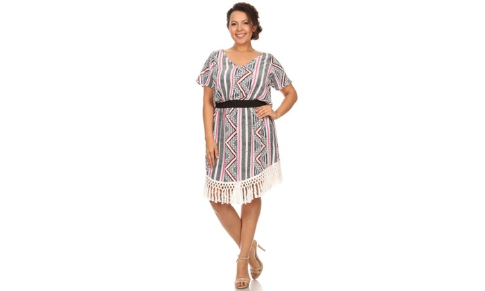 Xehar Women\'s Plus Size Tribal Fringe Short Summer Dress ...