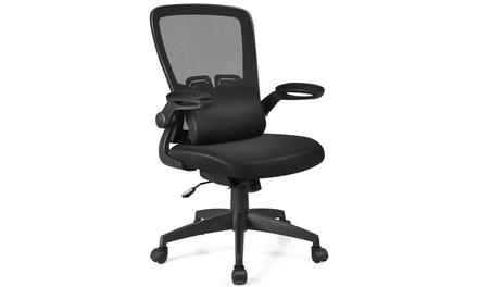 Mesh Office Chair Adjustable Height&Lumbar Support Flip up Armrest Black