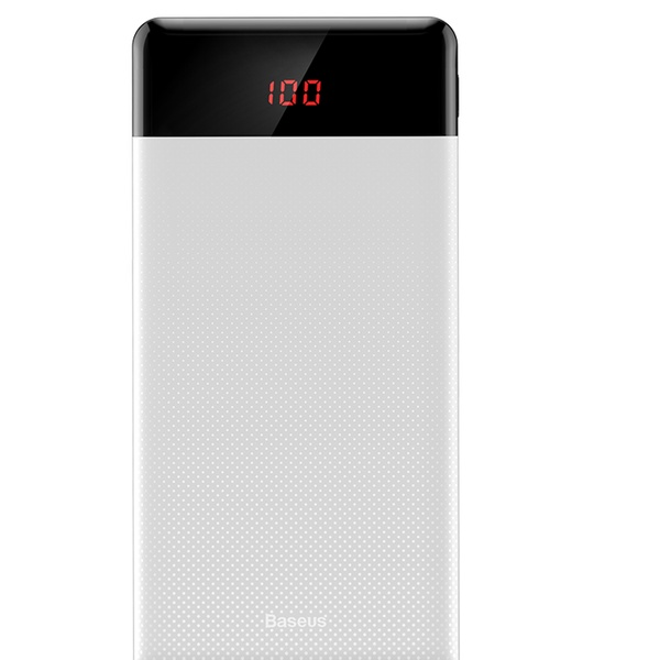Power Bank Charger 10000mAh Dual USB Status Display White Compatible with Samsung Galaxy S8