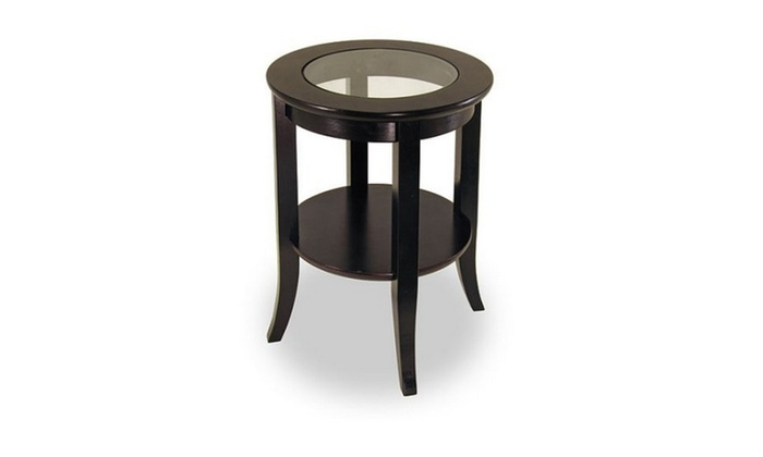 Genoa Round End Table With Gl Top Espresso