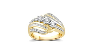 1/4 CTTW Diamond Three Stone Ring With Yellow Plated In Silver By DeCarat